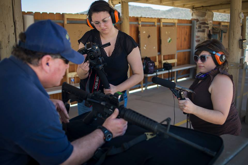 Collecting audio at an outdoor gun range in Tuscon, Arizona. Photo by: Jim Tuttle