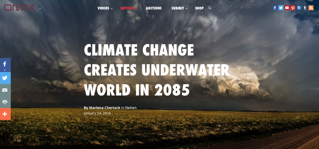 climate change creates underwater world in 2085 text overlaid on cloudy skies field