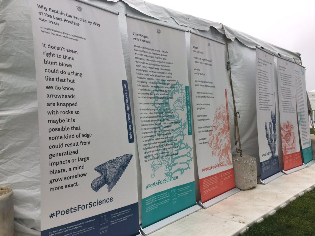 Seven-foot-tall banners of various poems.